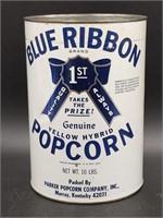 "Blue Ribbon Popcorn Tin 9.5"""