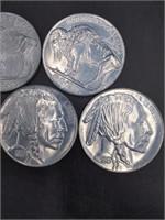 """(5) LARGE 3"""" Buffalo Head Nickels 3"""""""
