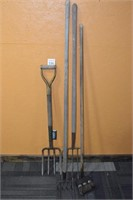 (2) Pitch Forks, Small Rake, & Brush