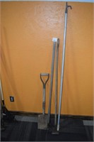 Shovel, (2) Hoes, & Rescue Pole