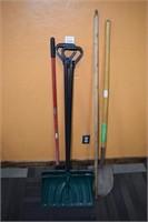 (2) Snow Scoops, Shovel, & Broom