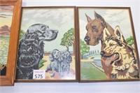 Jesus & (2) Dog Vintage Paintings