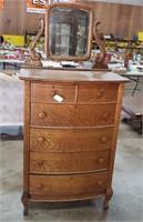 Oak 5 Drawer Dresser w/ Mirror