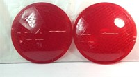 A pair of 12 inch stop light lenses