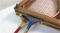 Two vintage badminton rackets