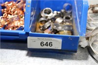 2 blue bins -copper clips, hose clamps,etc