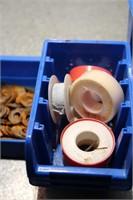 4 blue bins , washers,plumbers tape , cork , etc