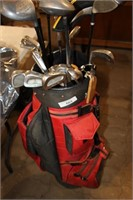 red cooper gold bag & 6 woods/12 irons aprx
