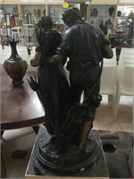 Bronze statue w/marble base, named 'Lovers' by