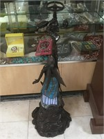 Bronze lamp angel w/stained glass and male signed
