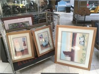 Cart lot of 9 assorted framed prints and more