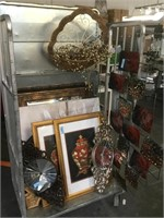 Cart lot of House decorative items, frames, wall