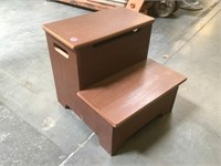 Wooden step stool w/compartment, approx 13 inches