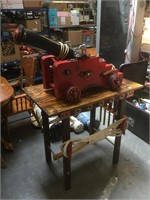 Red ornate Wooden Prop Cannon on wheels, approx