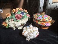 Lot of 3 Capodimonte/style pcs with some damage,