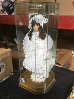 Vintage Porcelain doll w/glass display, approx 23