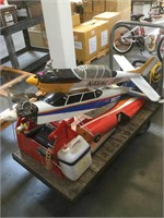 Cart lot of plane models Parts w/engines and more