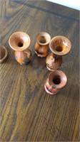 Wood Shaker Set & Small Vases