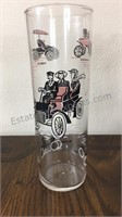 Vintage Tall Glasses Auto Motif - Set of 6