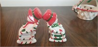 Lefton Salt & Pepper Shakers and Dish
