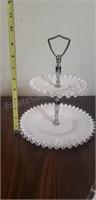 Ruffled Milk Glass 2-Tier and Cake Plate
