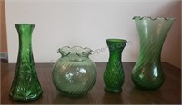 Lot of Green Glass Vases