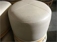 1 Cream leather ottoman with wood base - from