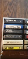 Assorted 8-Track Cartridges and Case