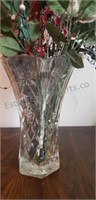 Faux Flowers in Etched Glass Vase