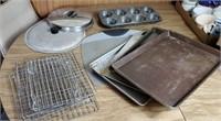 Assorted Pans, Cooling Racks, Lids