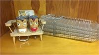 Set of 4 Snack Plates & Wood Shaker Set