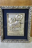 Vintage Framed Astrological Sign Aries