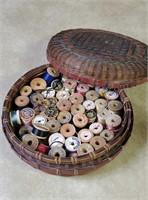 Wicker Basket of Wood Spool Thread