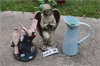 METAL WATERING CAN, ANGEL, AND BIRD DÉCOR
