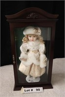 PORCELAIN DOLL IN WOOD AND GLASS DISPLAY CASE