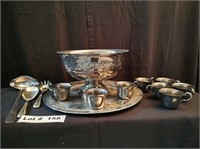SILVER CUPS, TRAY, LARGE SERVING BOWL AND UTENSILS