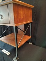 WOODEN AND METAL TABLE WITH DRAWER