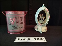 PORCELAIN MUSIC BOX AND DECORATIVE METAL BUCKET