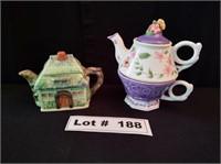 2 COLLECTIBLE TEA POTS ONE IS A TEA POT CUP COMBO