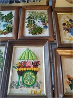LARGE SELECTION OF NEEDLE POINT FRAMED WALL ART