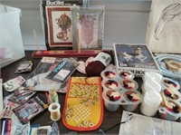 ASSORT. NEEDLE POINT, EMBROIDERY, LATCH HOOK CRAFT
