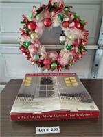 CHRISTMAS WREATH AND LIGHTED TREE SCULPTURE