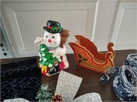 CHRISTMAS DÉCOR BOWS, RIBBON, CERAMIC SNOWMAN ETC