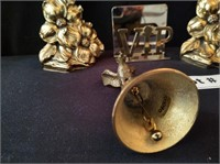 BRASS BOOK ENDS, BELL AND CARD HOLDER