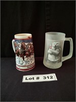 COLLECTIBLE STEINS - QTY 1 BUDWISER, QTY1 COKE