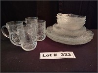 SERVICE 4 GLASS CUPS BOWLS SALAD & DINNER PLATES
