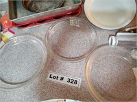 GLASS PIE PANS, METAL BAKING PANS, CANDY MOLD, AND