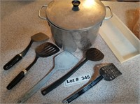 SOUP POT AND UTENSILS