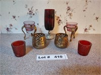 ASSORTED CANDLE HOLDERS AND CANDLES
