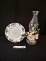 DECORATIVE COLLECTORS PLATE, STAND, AND OIL LAMP